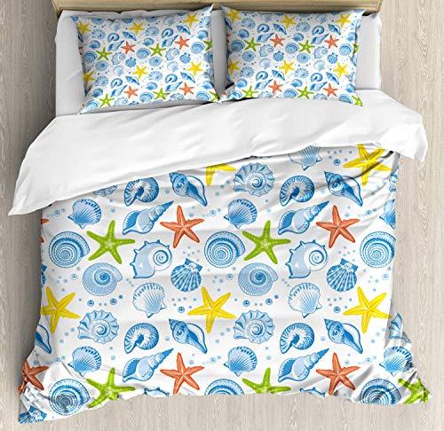 Aqua King Bettbezug (CHI Sea Shells Bettbezug Set King Size, Aqua Marine Sterne, Kuscheligform Top Qualität 3 Teiligen Bettbezug mit 2 Kissenbezüge, Mehrfarbig)