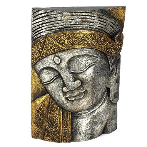 Wuona Objects Buddha Wandbild - 39 cm - Handgeschnitzt auf Bali - Silber/Gold (Bild Maske)