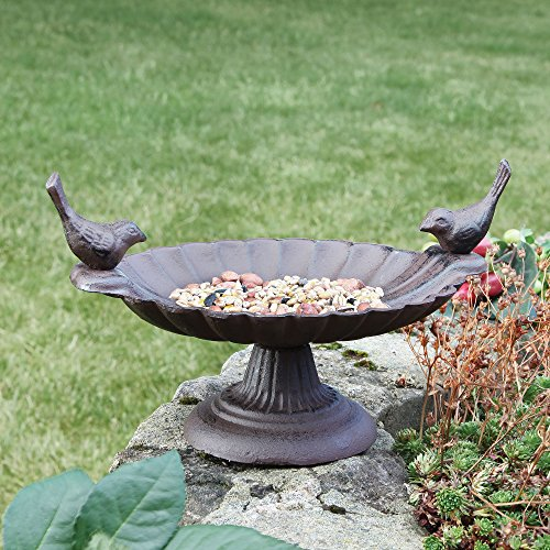 Cast Iron Love Birds Bird Bath - A Unique 6th Wedding Anniversary Gift - H16cm x W18cm Test