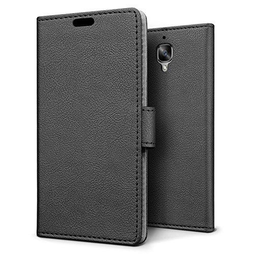 SLEO OnePlus 3, OnePlus 3T Hülle – Premium Luxuriös PU lederhülle [Vollständigen Schutz] [Kreditkartenfach] Flip Brieftasche Schutzhülle im Bookstyle für OnePlus 3 - Schwarz