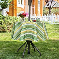 3EHome Outdoor Tablecloth with Umbrella Hole Waterproof Spillproof for Party Afternoon Tea BBQ