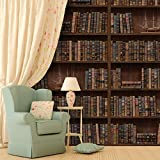 "Walplus 264x174 cm Wall Stickers ""Vintage Library"" Removable Self-Adhesive Mural Art Decals Vinyl Home Decoration DIY Living Bedroom Office Décor Wallpaper, Brown - Walplus - amazon.co.uk"