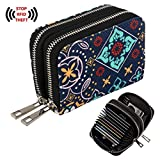 Te-Rich Womens Wallets RFID Blocking Canvas Coin Purse - Identity Protection Credit ID Card Pouch - Twin Metal Zippers, Bohemian Style, Blue