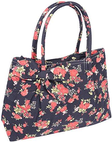 Küstenluder ALEEN Vintage Floral ROSE Blüten Bow Pin Up TASCHE Rockabilly Schwarz mit Rosen