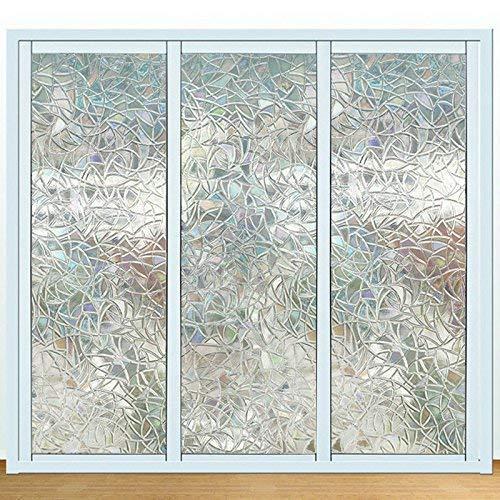 Emmala 3D Nicht Klebend Fenster Film Dekorative Sichtschutz Statische Klammert Unikat Sich An Rainbow Colorful Muster Glas Film 45 cm X 200 cm (Color : Colour, Size : Size)