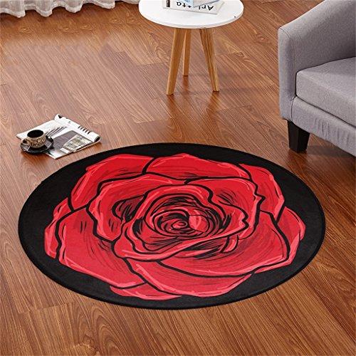 YFF ~ Mode Teppich Europäischer runder Teppich Wohnzimmer Kaffeetisch Kleiner runder Tisch Verhandlungstisch Mode Trend Teppich (rot) Indoor Teppich ( größe : Diameter 80cm )