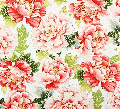 Fat Quarter Tadashi cremefarbene Blumen, Baumwolle, Hahn-Design, Rot