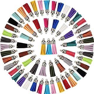 Satinior 100 Stück 40 mm Leder Quaste Anhänger Faux Wildleder Quaste mit Kappe für Schlüsselanhänger Kettenriemen DIY Zubehör, 20 Farben