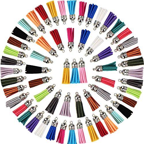 Satinior 100 pezzi 40 mm ciondoli in pelle nappa camoscio finti fiocco con tappi per chiave cinghie catena accessori fai da te, 20 colori