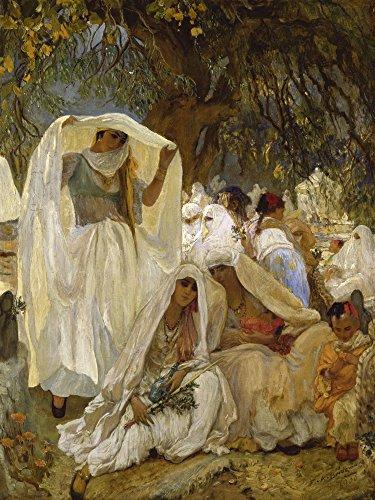 Artland Qualitätsbilder I Poster Kunstdruck Bilder 45 x 60 cm Religion Islam Malerei Creme A2WZ der Tag des Propheten Blidah Algerien 1900