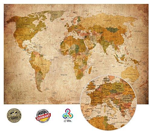 Old carte du monde en look vintage - peinture murale XXL Affiches HD 140cm x 100 cm décoration murale rétro. image mappemonde utilisé comme mur | Carte écran murale antique | + GRATUIT calendrier 2018