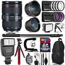 Canon 24-105mm Is II USM Lens 1380C002 + Flash + 0.43X Wide Angle Lens + 2.2X Telephoto Lens + LED Kit + Video Stabilizing Handle + UV-CPL-FLD Filters + Macro Filter Kit - International Version - B075DC9PQF