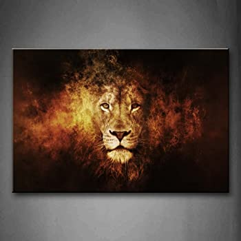 4c2f26759799a Black And White Gray Lion Head Portrait Wall Art Painting Pictures ...