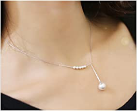 ITS- Immitation faux Pearl Y-necklace Silver / Rhodium Finish Clavicle Chain Necklace