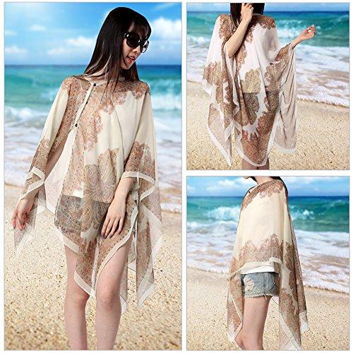 Vbiger Damen Strandkleid Damen Badeanzug Kittel Strand Bikini Kittel Sommer Kleid für Damen Cremefarben+