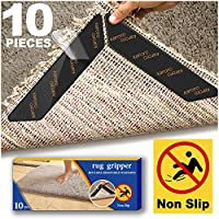 Rug Gripper for Wooden Floors, 10pcs Anti Curling Rug Gripper for Wooden Floors, Non Slip Rug Grip Carpet Sticker Anti Slip Rug Underlay to keep your Rug in Places & Makes Corners Flat