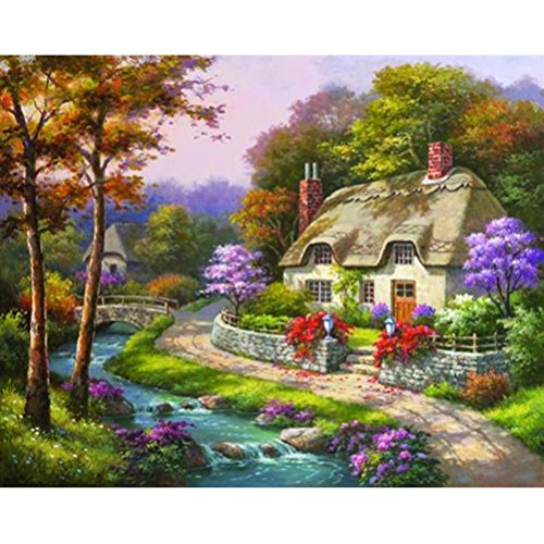 Upxiang DIY Landscape Diamond Embroidery Painting 5D Cross Stitch Craft Crystal Mosaic Cross Stitch Kit Home Decor Gift (C) Crystal Kit