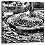 Monocrome, Leckeres Steak, Format: 40x40 auf Leinwand, XXL riesige Bilder fertig gerahmt mit Keilrahmen, Kunstdruck auf Wandbild mit Rahmen, günstiger als Gemälde oder Ölbild, kein Poster oder Plakat