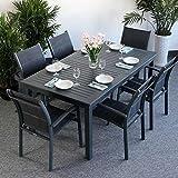 Virginia Tisch & 6 Milly Stühle - GRAU | ausziehbarer Esstisch 244cm