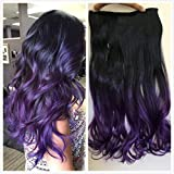 One Piece clip in hair extensions (Black to purple)