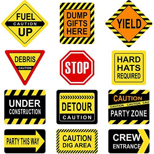 Blulu Party Dekorationen, Laminierte Zeichen, Thema Party Zeichen, Papier Ausschnitte mit 40 Klebe Punkten (12 Pieces Construction Signs)