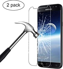 Bigmeda Panzerglas Schutzfolie für Samsung Galaxy J7 2017, 2 X J7 2017 Hartglas Folie Panzerglasfolie Displayfolie Folie 9H ultra Kla Anti-Bläschen[Glas bewusst kleiner als das Display,da dieses gewölbt ist]