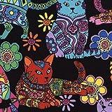 Schwarzer Stoff mit bunter Katze Blume von Timeless