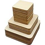 Cuadrados de madera en blanco sin terminar de 42 piezas, 3 tamaños, piezas de madera para proyectos de manualidades, arte de