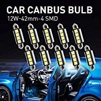 Mihaz 10 x 42mm CAN-Bus senza errori del festone 4SMD W5W C5W 5050 LED SMD lampadine per luci interne auto o targa a LED Bulbi (10 * 42mm