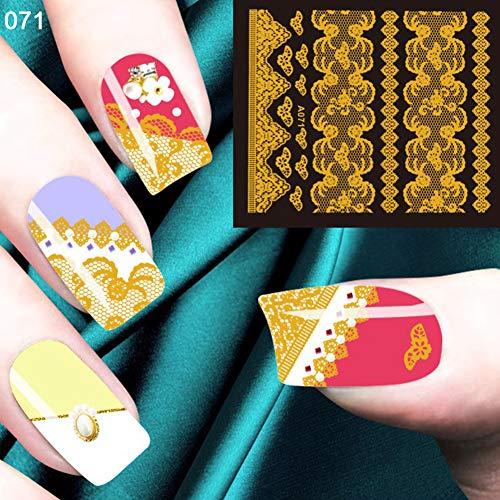 nieliangw0q Nail Art Sticker 10 Stück Vergoldet Retro-Muster Nail Art Sticker Frauen Maniküre Dekor Aufkleber Golden -