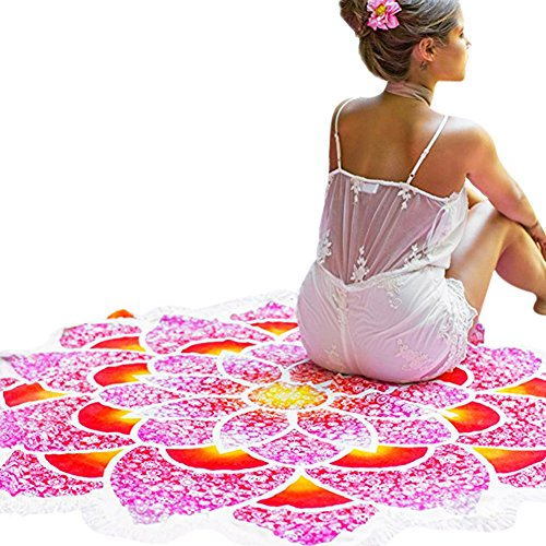 iBaste Strandtuch mit Quaste und Lotus Blumen StrandSchal Tapestry  Tischdecke Picknickdecke Schal Rot