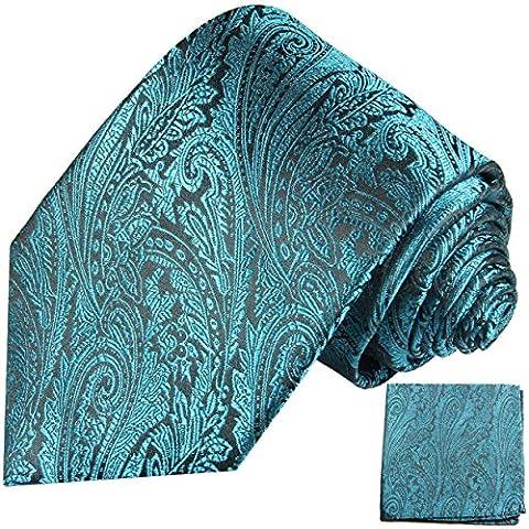 Cravate homme aqua bleu noire ensemble de cravate 2 Pièces