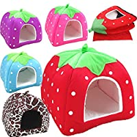 Generic Brown, XL : Pet Cat House Foldable Soft Winter Leopard Dog Bed Strawberry Cave Dog House Cute Kennel