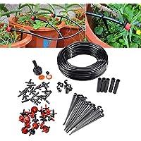 Wenquan,Riego por Goteo, Sistema de riego automatico 23m Micro Kit para Planta Jardin Invernadero(Color:Black)