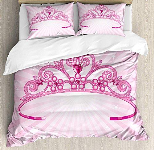 LIS HOME Kinder Bettbezug-Set King Size, schöne rosa Fee Prinzessin Kostüm Print Krone mit Diamant-Bild-Kunst, dekorative 3-teiliges Bettwäscheset mit 2 ()