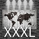 premiumsticker24 Kunstdruck Leinwandbild Weltkarte eingebrannt in weißes Holz (Optik) | Wohnzimmer Bild Canvas Deko 160x90cm, Größe XXXL