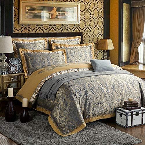 JSHECOVER Sliver Gold-Silk Satin Jacquard Bettbezug Bettwäsche Set Königin King Size Stickerei Spannbettlaken Set Color 10 Queen 4Pcs Bed Sheet Style