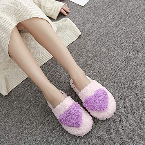 Qsy shoe Baumwollslipper Fallen Winterwärme dicken unteren Ausgangsstoff-Damentasche mit Liebe, lila, 40-41