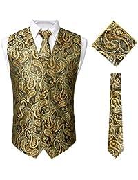STTLZMC Paisley Gilet Homme Double Boutonnage sans Manches Vintage Mariage Costume Veste & Cravate & Carre de Poche Set