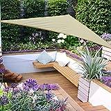 Homcom - Toldo vela color crema sombrilla parasol triangulo hdpe 160g/m2 jardin playa camping sombra (varios colores y medidas), medida 3x3x3 metros, color crema