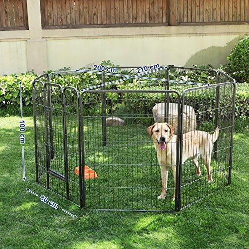 Songmics 8-tlg Welpenauslauf für Hunde Kaninchen und Andere Kleine Haustiere 80 x 100 cm (B x H) Grau PPK81G - 4