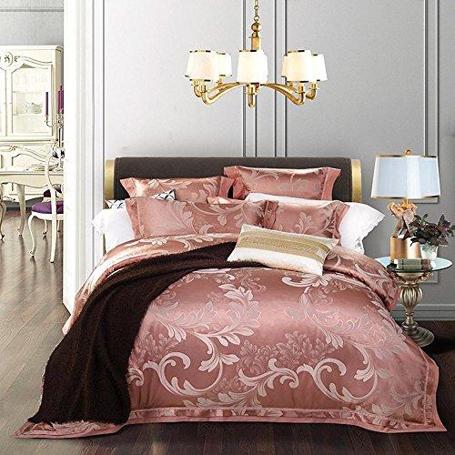 BEIZI Satin Jacquard Bettwäsche-Sets umfassen: 1 Bettbezug 1 Flache Blatt 2 Kissenbezüge,4 stücke königin Größe, 5 -