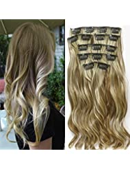 "22 ""Full Clip tete dans les extensions de cheveux Ombre Wavy Curly Dip Dye 7pcs Mix Blond Chatain"