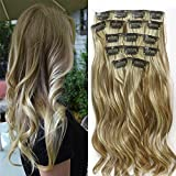 22 'Full Clip tete dans les extensions de cheveux Ombre Wavy Curly Dip Dye 7pcs Mix Blond Chatain