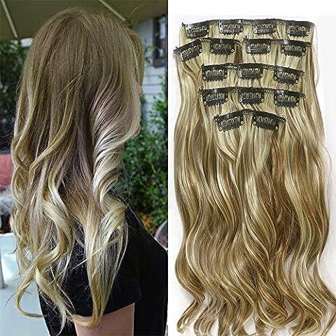 """22 """"Full Clip tete dans les extensions de cheveux Ombre Wavy Curly Dip Dye 7pcs Mix Blond Chatain"""