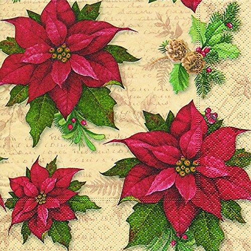 viette 33 x 33 cm (Traditional flowers) Weihnachtsstern Weihnachten Winter Schnee Tiere Wald Schneemann Merry Christmas ()