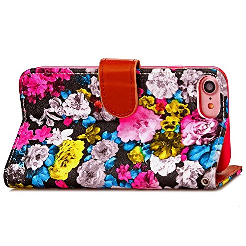 Wkae Case Cover iPhone Case 7, Peinture à l'encre étui en cuir Flower Case PU Housse TPU souple avec Liquide Carte Slots et Case Photo Window pour Apple iPhone7 4,7 pouces by DIEBELLEU ( Color : 4 , S 4