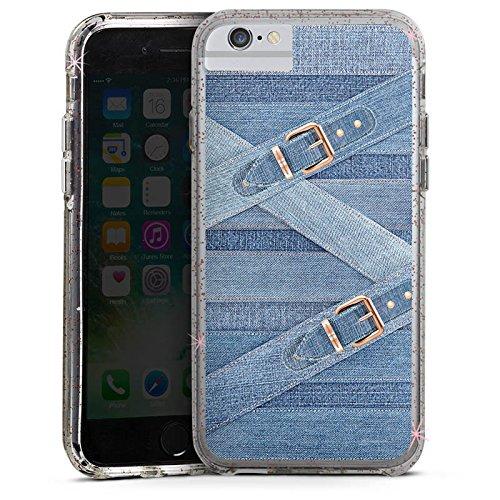 Apple iPhone 8 Bumper Hülle Bumper Case Glitzer Hülle Marina Hoermanseder Schnallen Jeans Bumper Case Glitzer rose gold