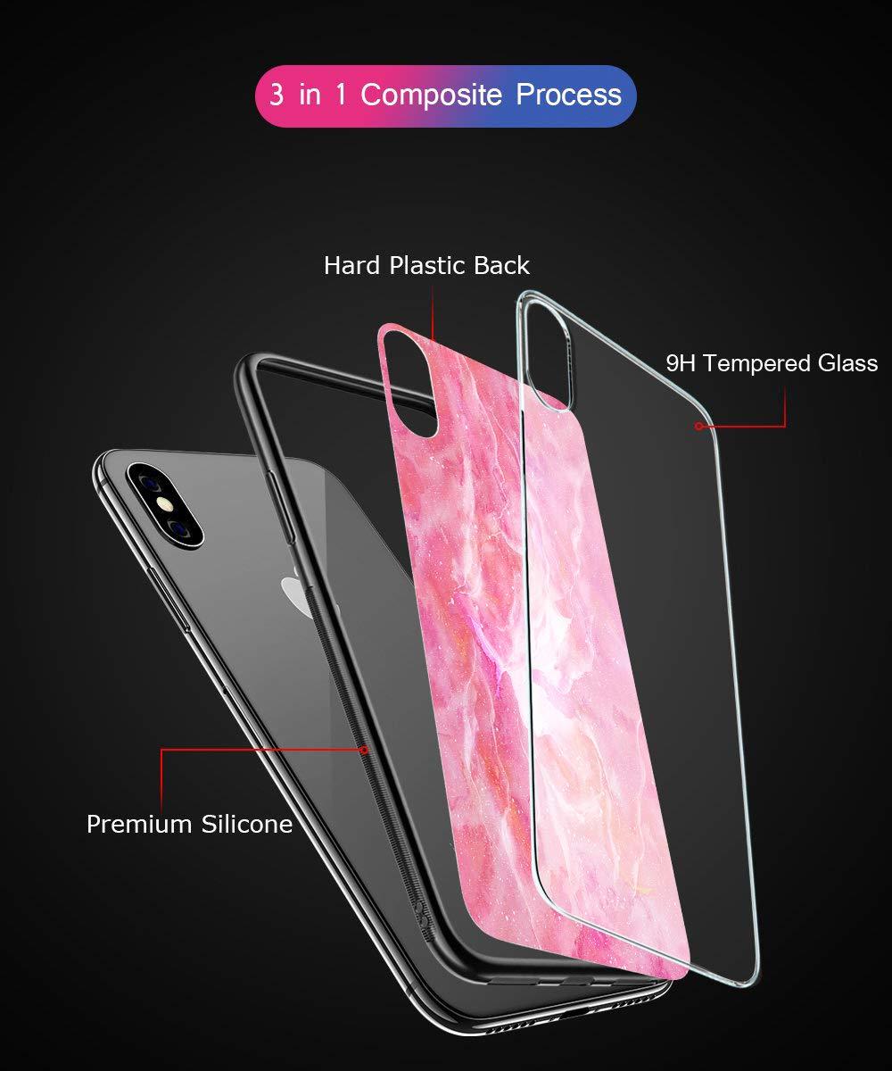 Oihxse Colorido Gradual Cristal Estilo Case Compatible con iPhone X/iPhone 10 Funda Vidrio Templado Trasera Carcasa… 5