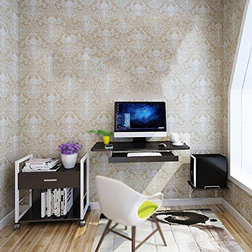 MEIDUO Tables Mur Accrochant De Bureau D'ordinateur Approprié Au Petit Appartement Noir, Bleu, Brun, Blanc, Bois Bureau d'ordinateur (Couleur : Noir)
